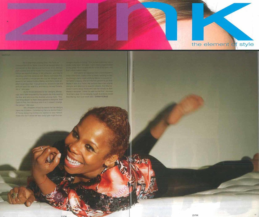 Zink Magazine. Catch A Fire Clothing. Jungle Print Shirt as seen on Cedella Marley.