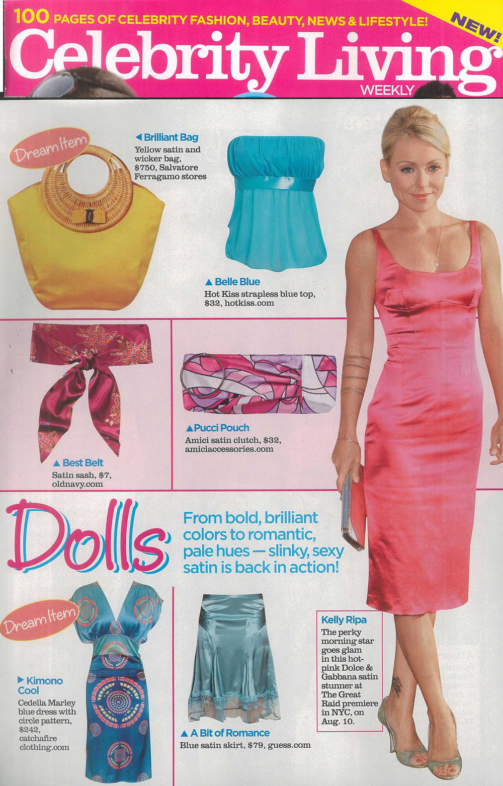 Celebrity Living Magazine. Catch A Fire Clothing. Blue Ocean Dress.
