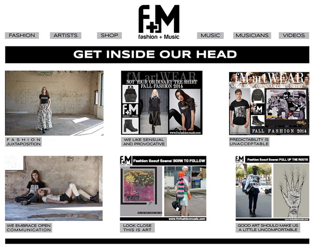 F+M Fashion and Music. Blog Design.