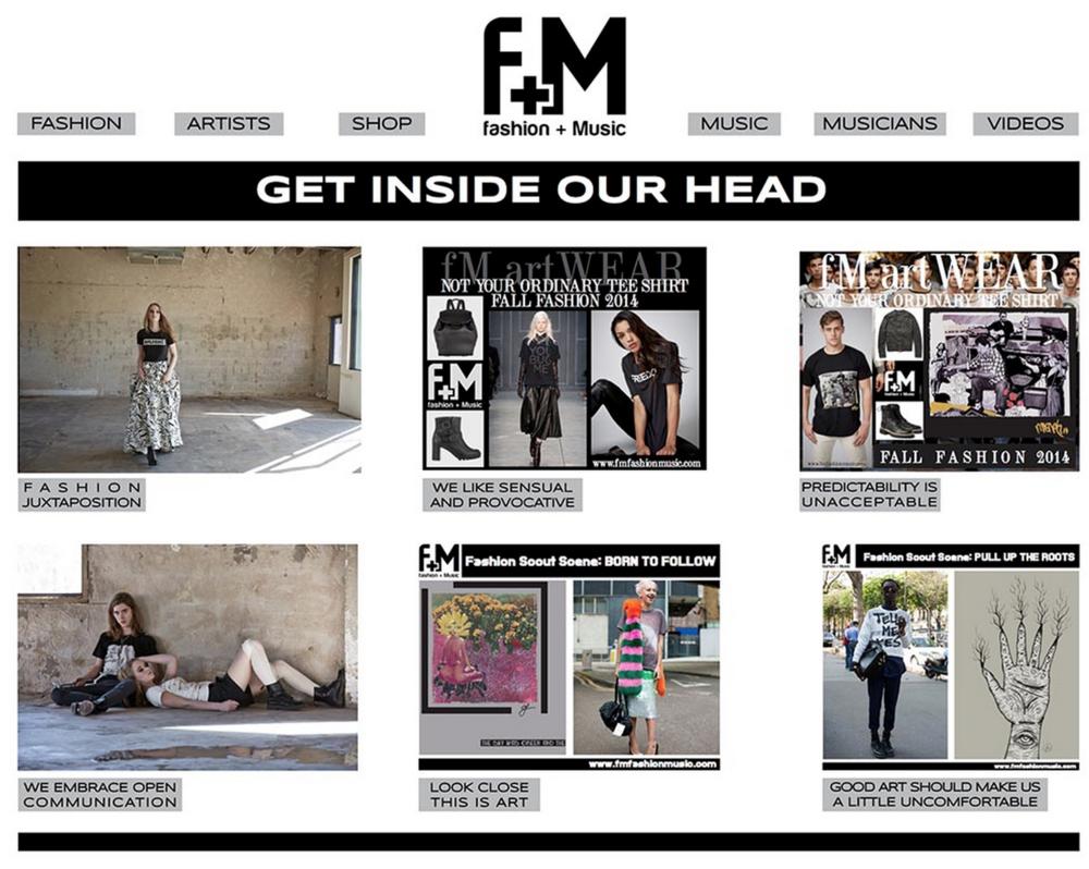 F+M Fashion and Music. Blog Design.