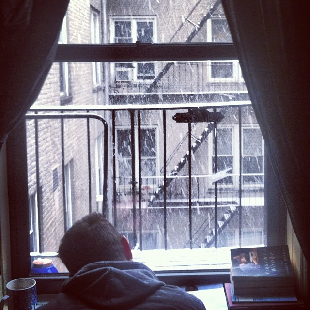 Nice #snowday in the shared #homeoffice. I'm actually enjoying retouching while he listens to #bach & reads #virginiawolf, with ivy sacked out on the floor. #howtoenjoywork