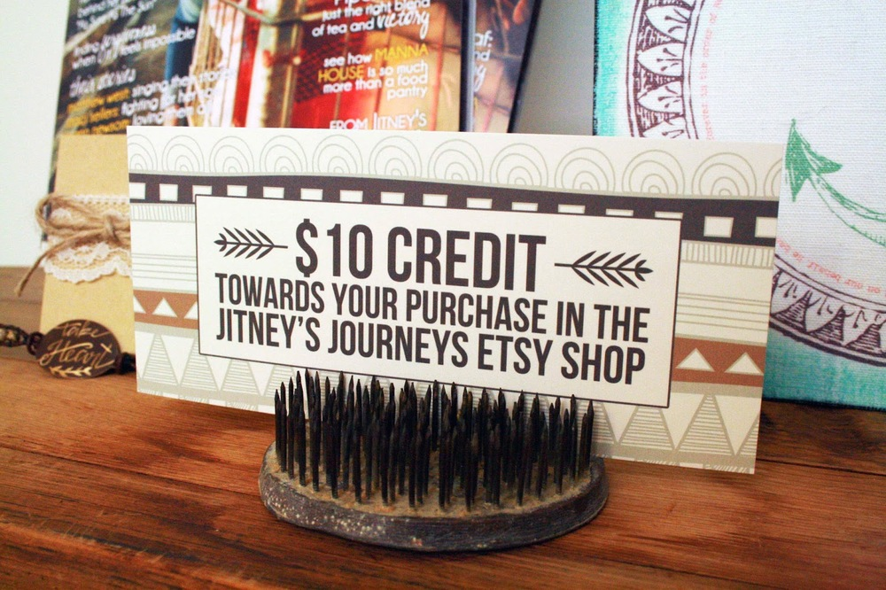 $10 Credit towards your purchase in the  Jitney's Journeys Etsy Shop