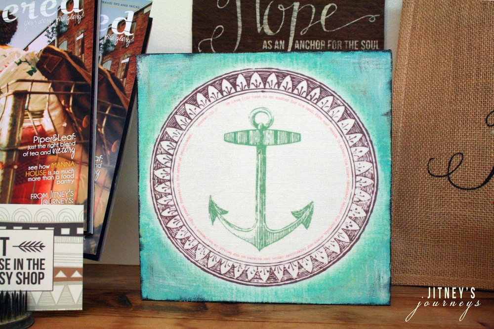 (1) 8 x 8 Mixed Media Anchor Canvas (Hebrews 6:19-20)