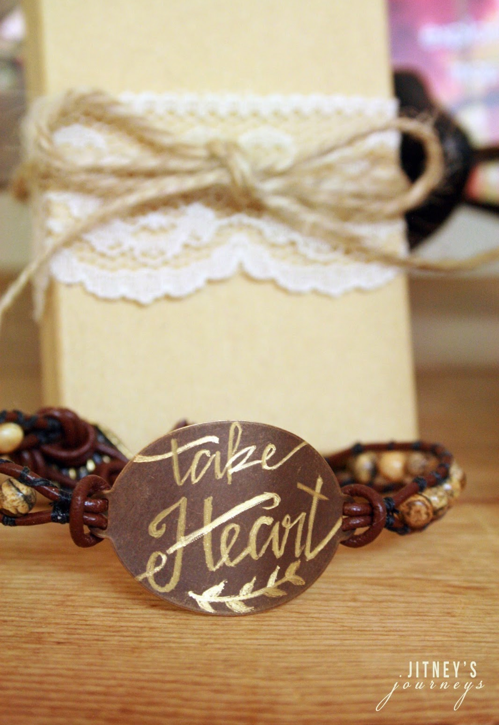 "(1) Hand-etched ""Take Heart"" Leather Beaded Bracelet"