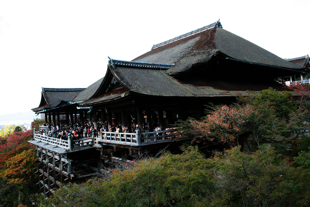 Kiyomizu-dera This Buddhist temple overlooks a Kyoto hillside, supported by 139 15m-high wooden pillars.