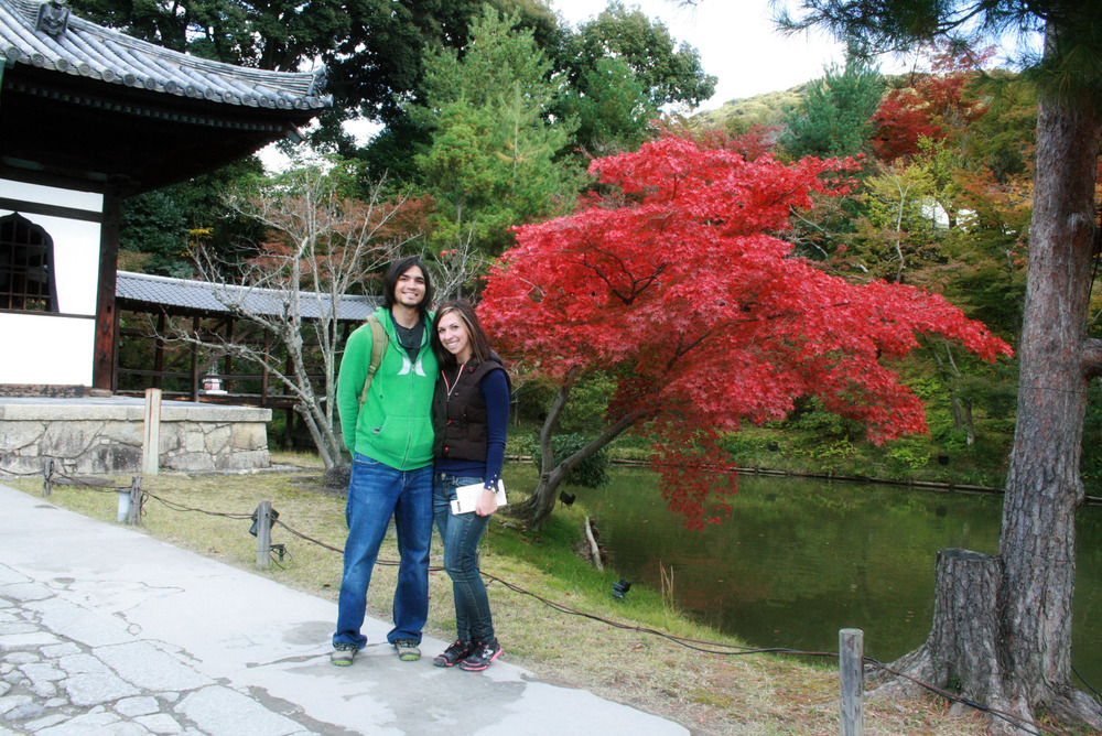 Ok, so the lady who took the photo above (of us in front of the tiny temple) asked if she could take one of us in front of this stunning maple. We couldn't refuse. Not even this photo captures the sheer vibrancy of the maple season in Kyoto. The foliage was stunning.