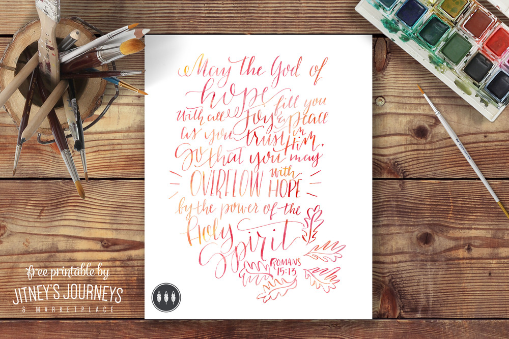 Romans 15:13 // Free Printable by Jitney's Journeys