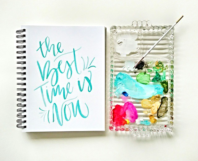 The Best Time is Now // Handlettering via Jitney's Journeys