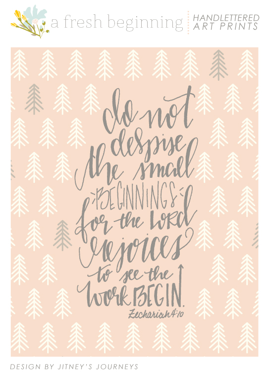 Small Beginnings // Scripture Art Prints via Jitney's Journeys