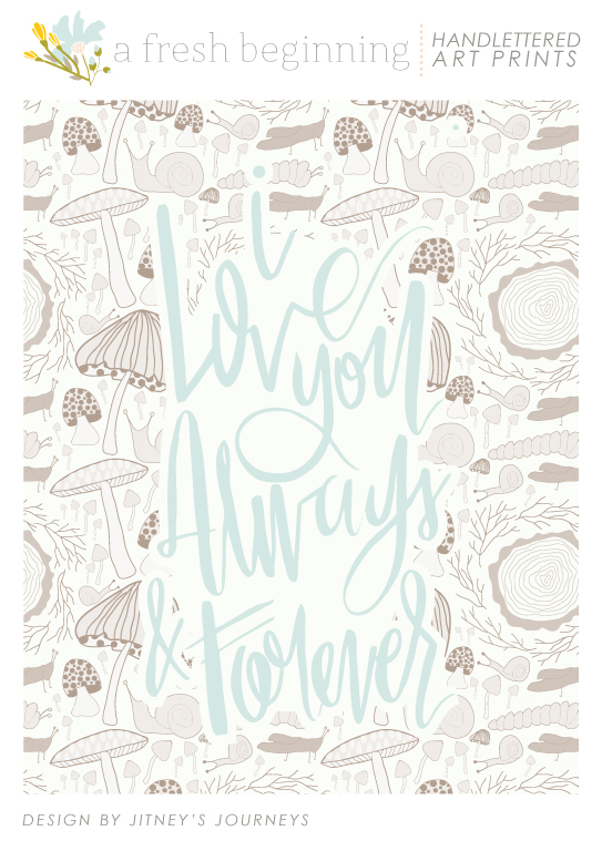 I Love You Always & Forever // Whimsical Children's Art Prints via Jitney's Journeys