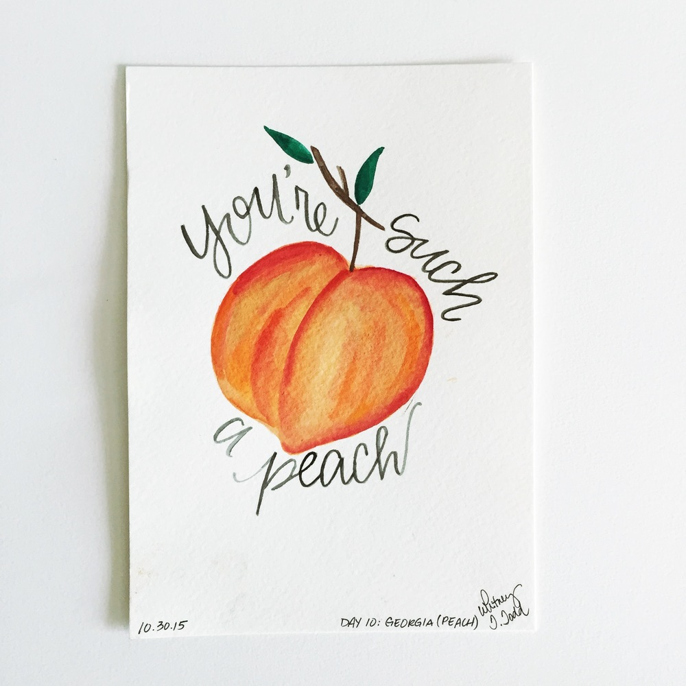 Day 10: Georgia - You're Such a Peach // 50 Day State-themed Illustration and Design Challenge via Jitney's Journeys