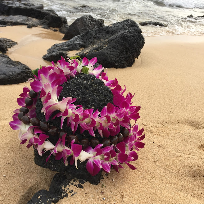 It's a girl! // gender reveal via Jitney's Journeys // lei, beach, hawaii, waves