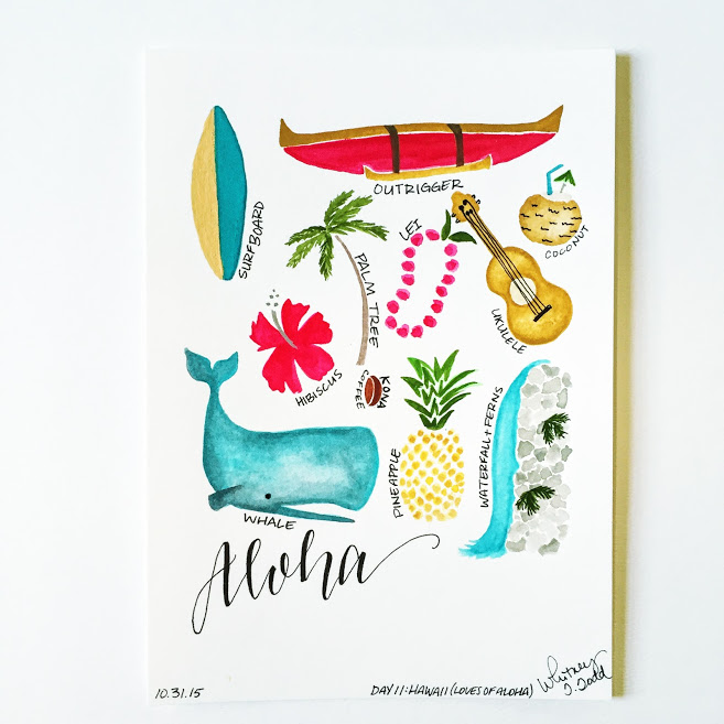 50 Day State-themed Design Challenge via Jitney's Journeys // Illustration and Gouache Paintings by Whitney Todd [Hawaii - Aloha Favorites]