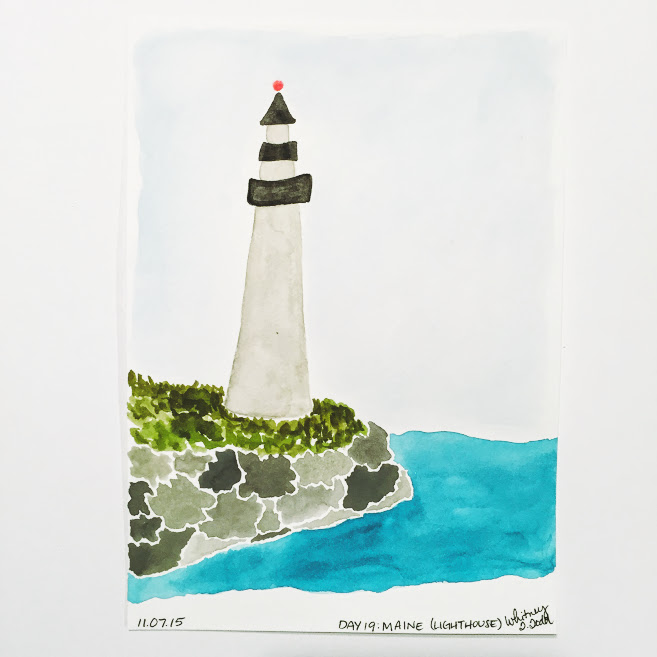 50 Day State-themed Design Challenge via Jitney's Journeys // Illustration and Gouache Paintings by Whitney Todd [Maine - Lighthouse]