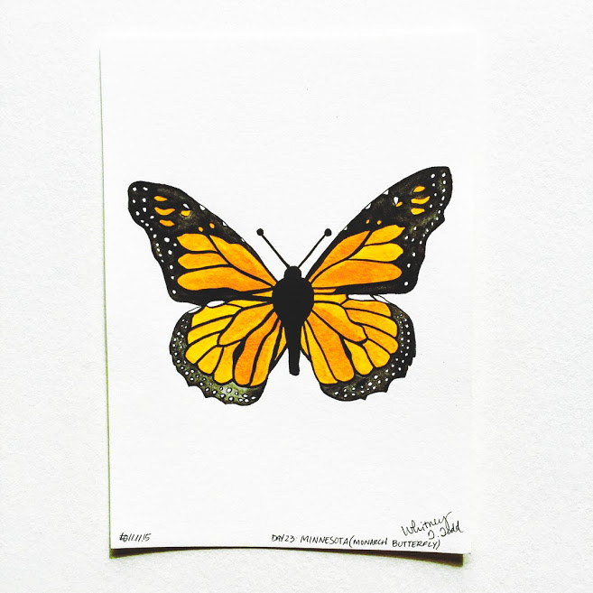 50 Day State-themed Design Challenge via Jitney's Journeys // Illustration and Gouache Paintings by Whitney Todd [Minnesota - Monarch Butterfly]