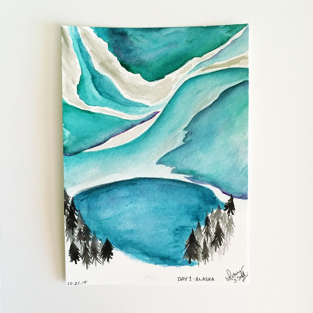 50 Day State-themed Design Challenge via Jitney's Journeys // Illustration and Gouache Paintings by Whitney Todd [Alaska - Northern Lights]