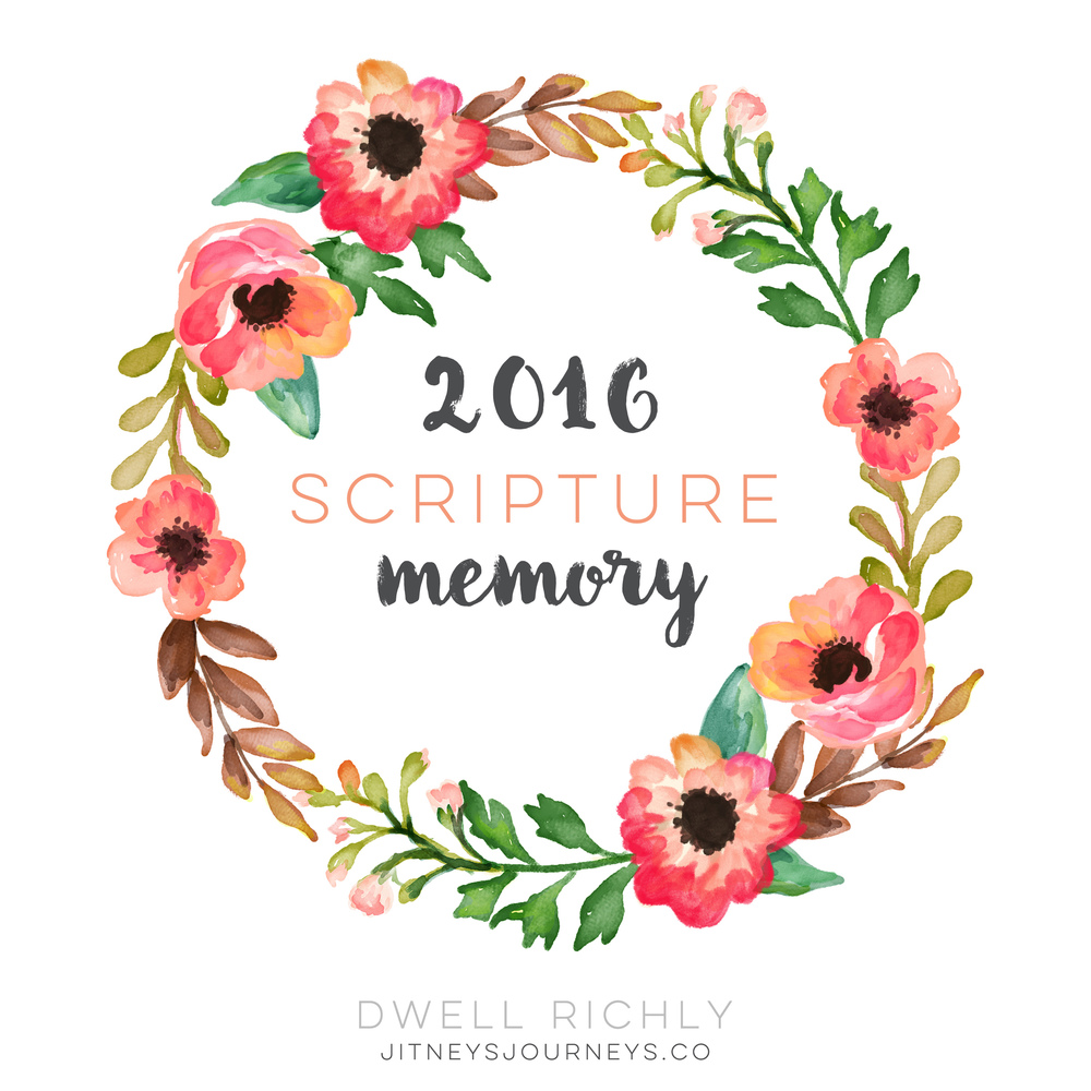2016 Scripture Memory free printable // Dwell Richly via Jitney's Journeys