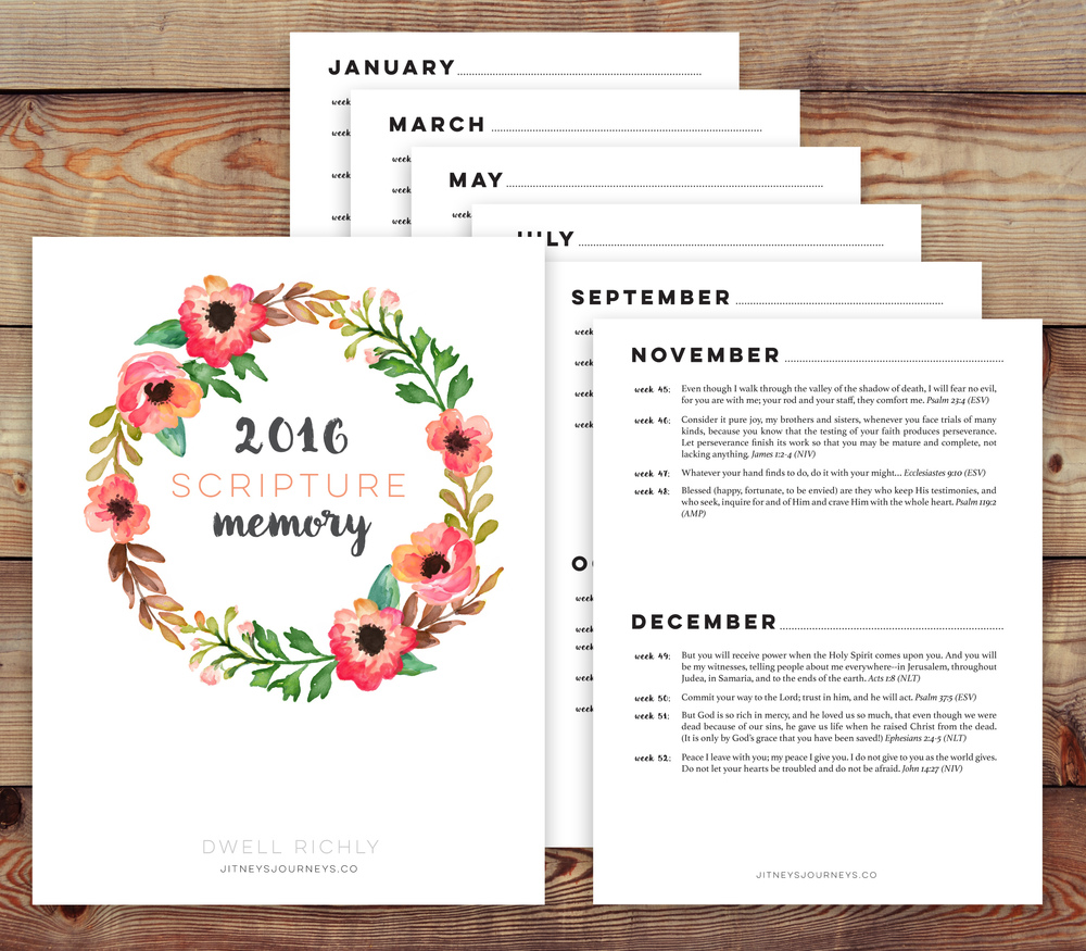 Dwell Richly free printable // 2016 Weekly Scripture Memory Resource via Jitney's Journeys
