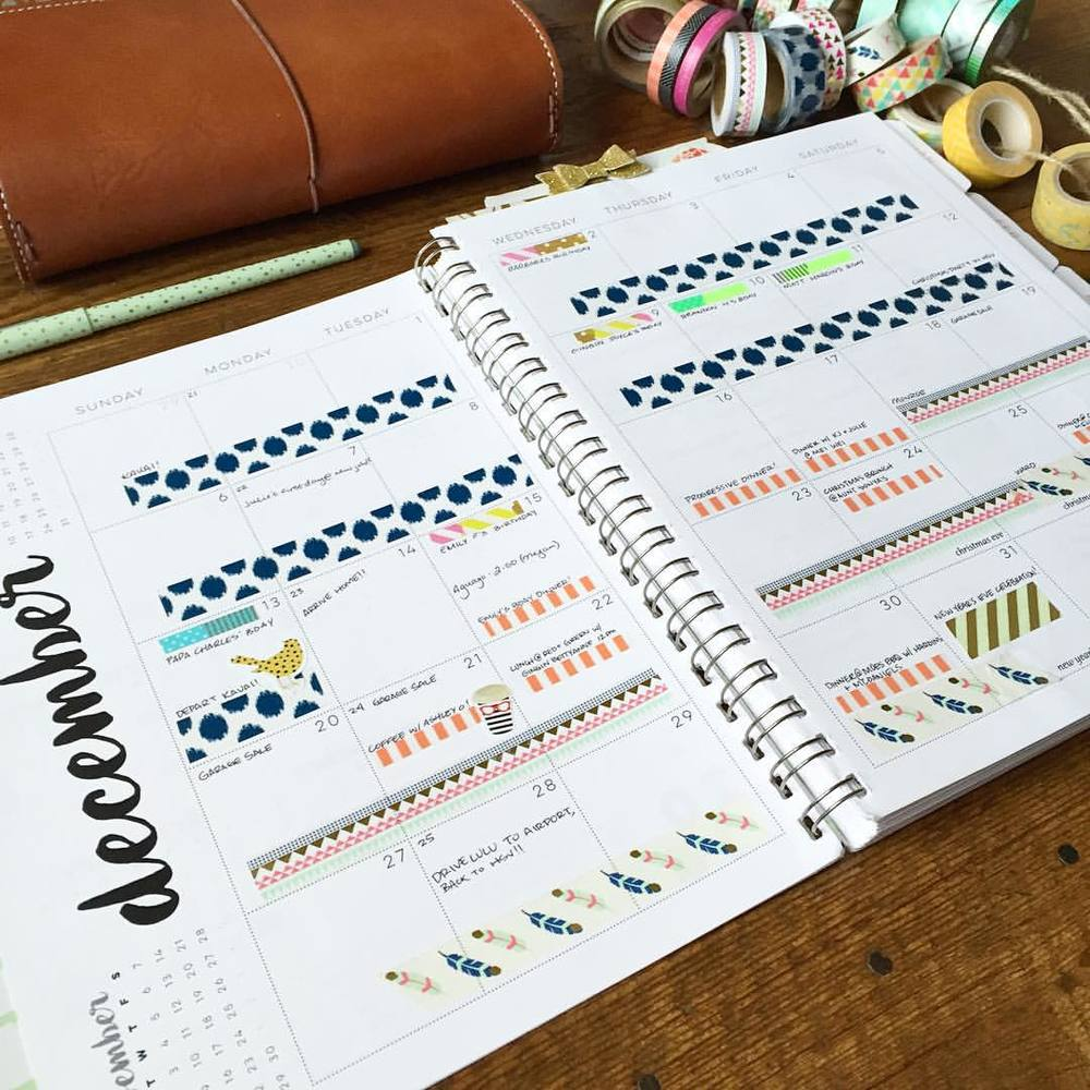 Monthly Planner with washi tape // via Jitney's Journeys