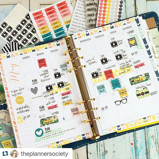 Monthly Planner Printable by Jitney's Journeys, adorned with washi tape and stickers // via The Planner Society