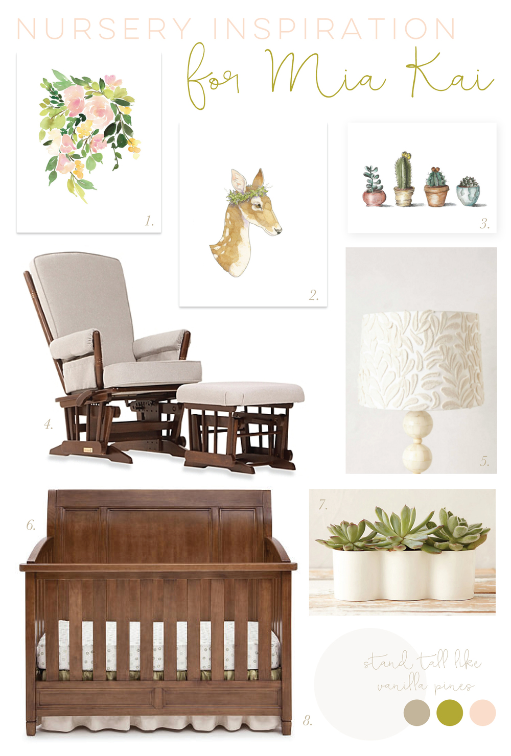 Inspiration for Mia Kai's Nursery: sweet, peach, olive, gray, white, deer, floral, cactus, succulents, crib, lamp // Mood Board via Jitney's Journeys