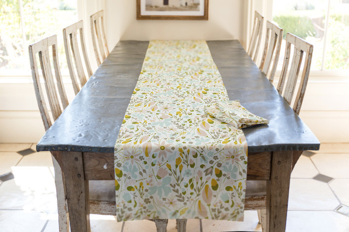 Home Decor Table Runner and Napkins for Dining Room - Awakening Fabric at Minted - Designed by Whitney Todd