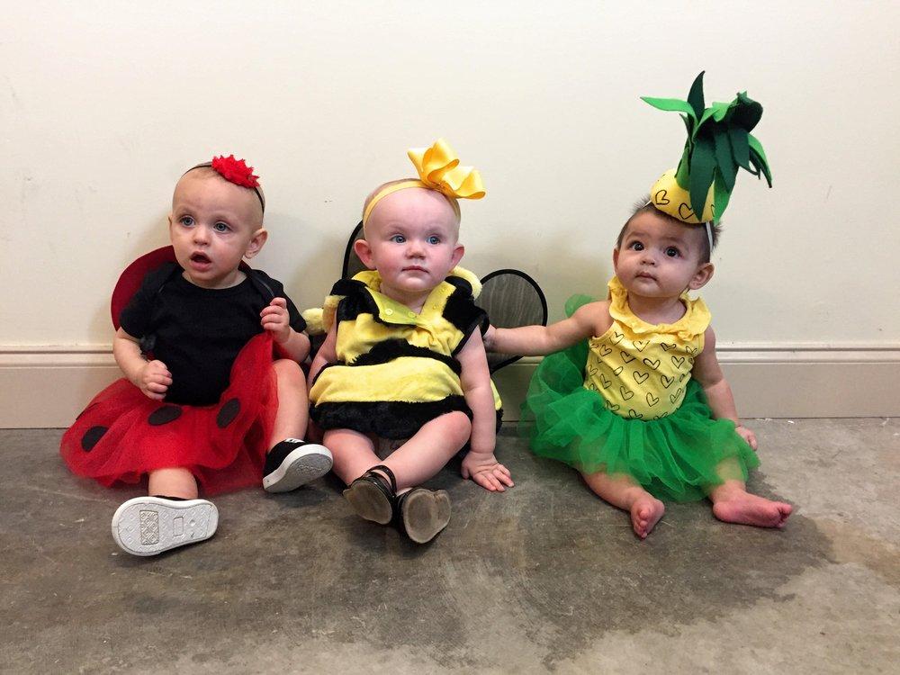 Baby Ladybug, Bumblebee and Pineapple Halloween Costumes via Jitney's Journeys