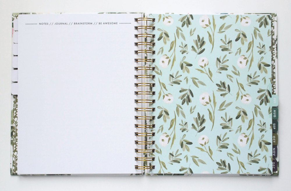 2019 Agenda from Jitneys Laminated Tabs Illustrated Watercolor Surface Pattern