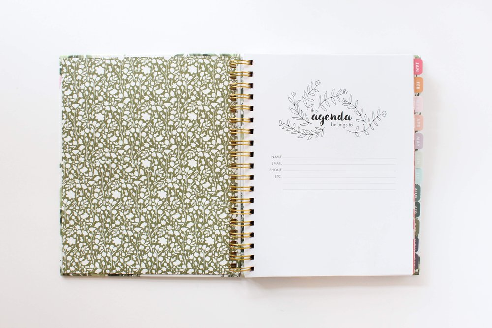 2019 Agenda Floral Planner by Jitneys with Inside Pocket