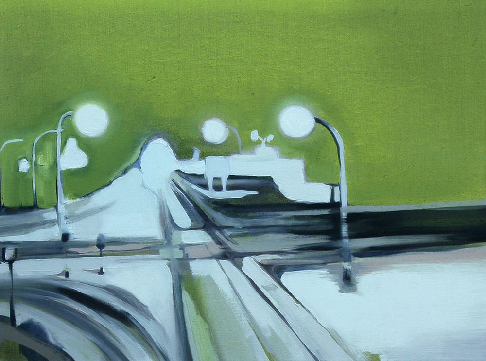 """watching the highway - sulphur lights <br> 24"""" x 20"""" <br> oil on canvas"""