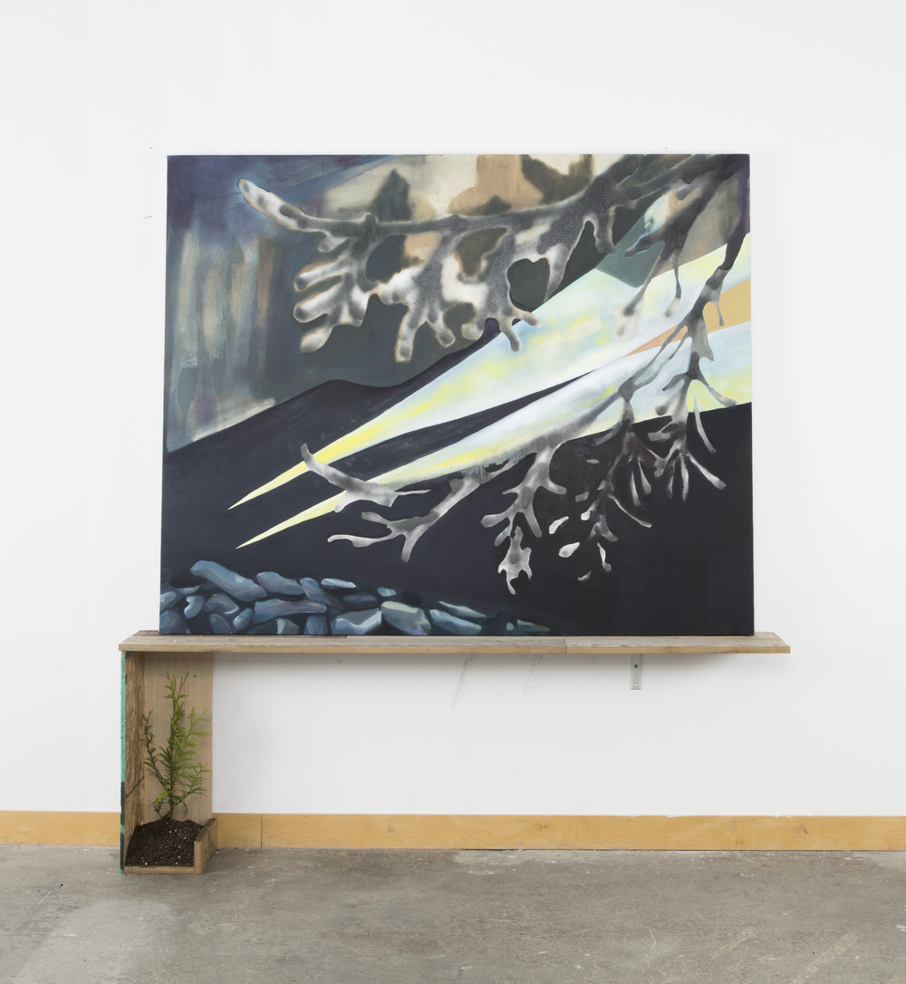 night light <br> oil and spray paint on canvas, cedar board and cedar sapling <br> dimensions variable
