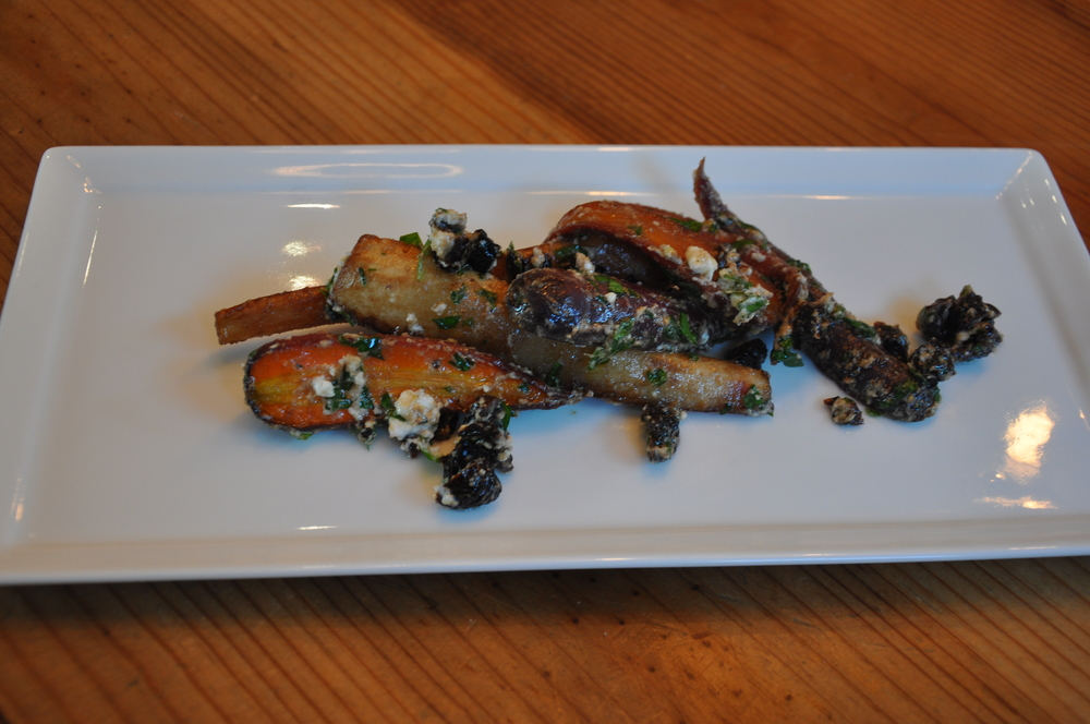 Balsamic roasted carrots and parsnips tossed with feta cheeses and dried cherries