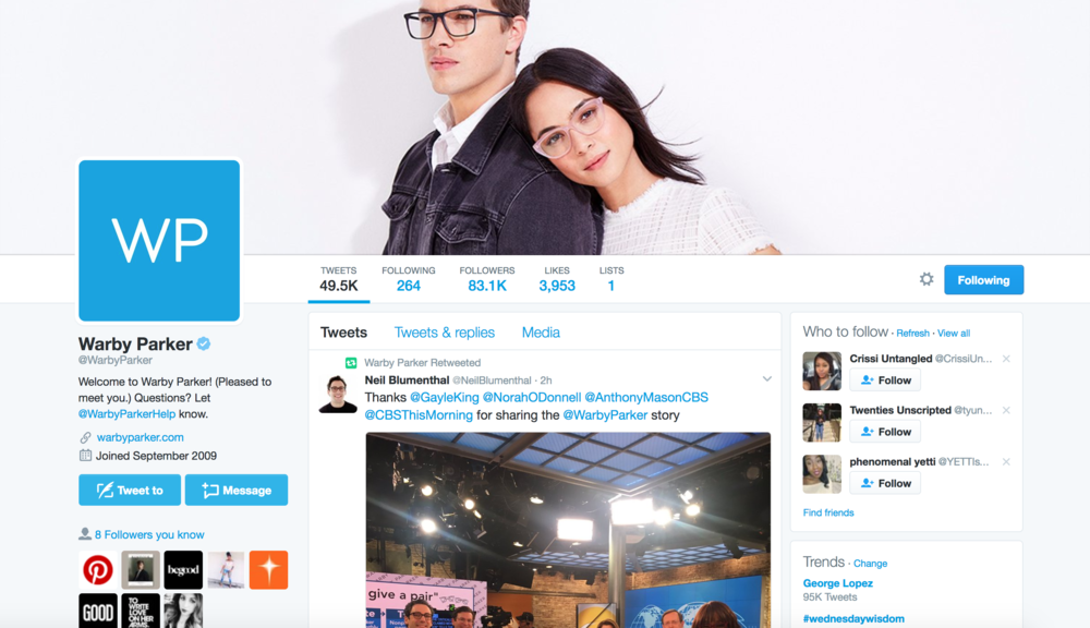 Warby Parker on Twitter @WarbyParker