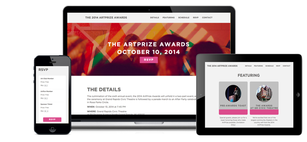 ArtPrize event website - online rsvp
