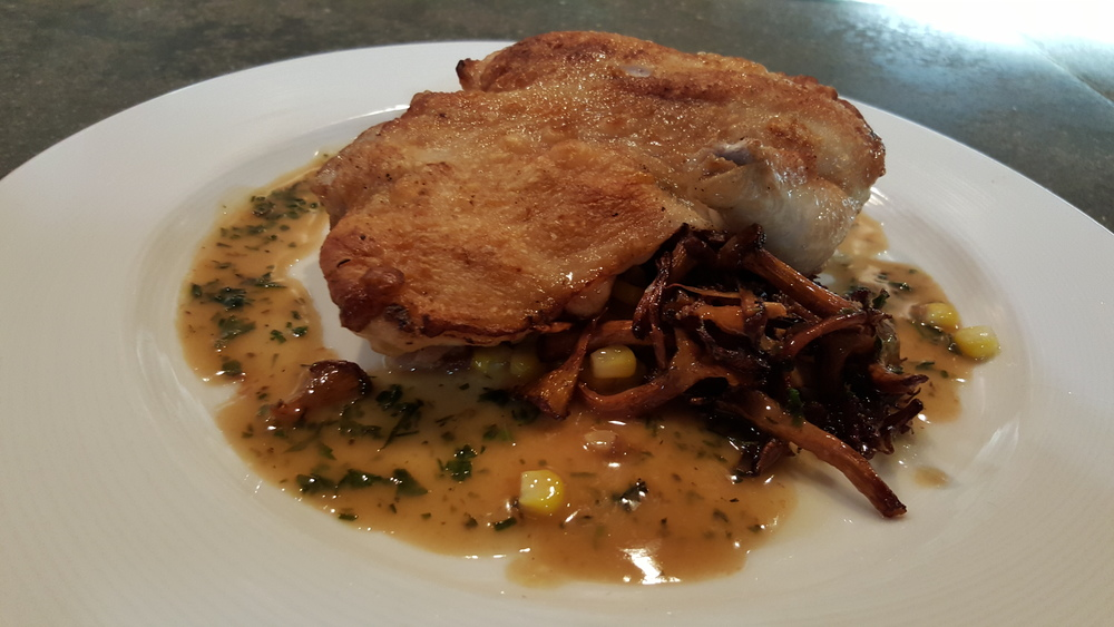 ROASTED HALF CHICKEN  brentwood corn, local chantarelles, thyme chicken jus