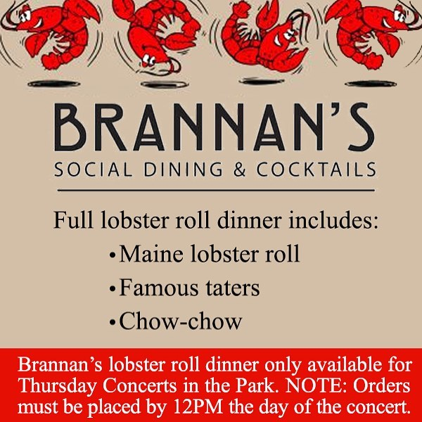 order yours for this weeks Concert in the Park! #brannans #concertsinthepark