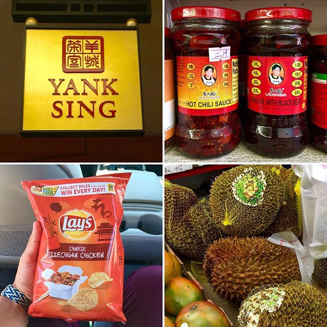 Proper Asian travel includes a visit to #Chinatown to rebalance chi, restore fobbiness, and reload on groceries. Clockwise: #YankSing for dim sum, Lao Gan Ma (Godmother brand) sauces for cooking, durian fruit for dares, and bullshit chips to see how corporate America tries to get its paws on that immigrant money.