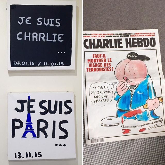 The proprietors of our rental are woke. Paintings by their kids and some cheeky coffee table reading. #CharlieHebdo