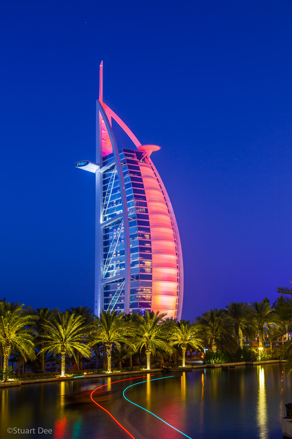 Burj Al Arab at night, Dubai City, Dubai, UAE. The hotel is a symbol of Dubai.