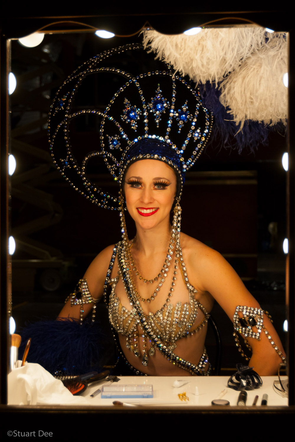 Showgirl at dressing room mirror, Las Vegas, Nevada, USA