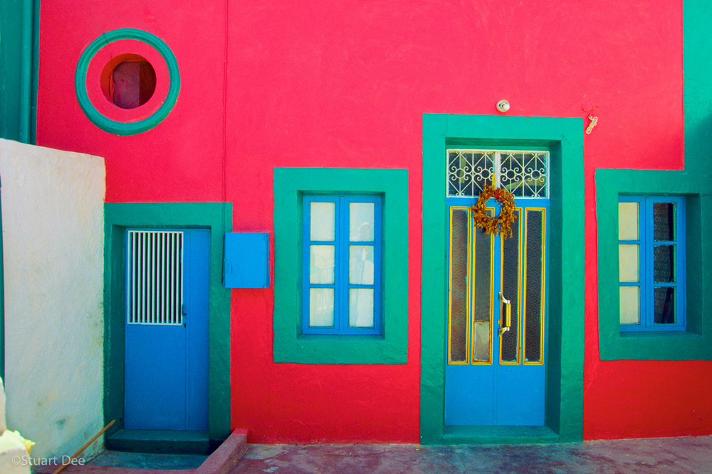 Colorful facade, Manolas, Santorini, Greece