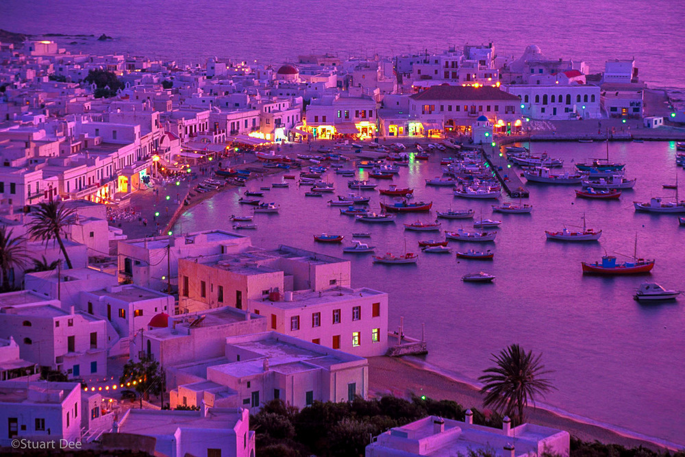 Village And Harbour At Dusk, Mykonos, Greece