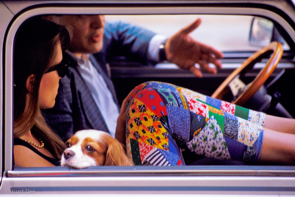 Man, Woman, And Dog In Car, Paris, France