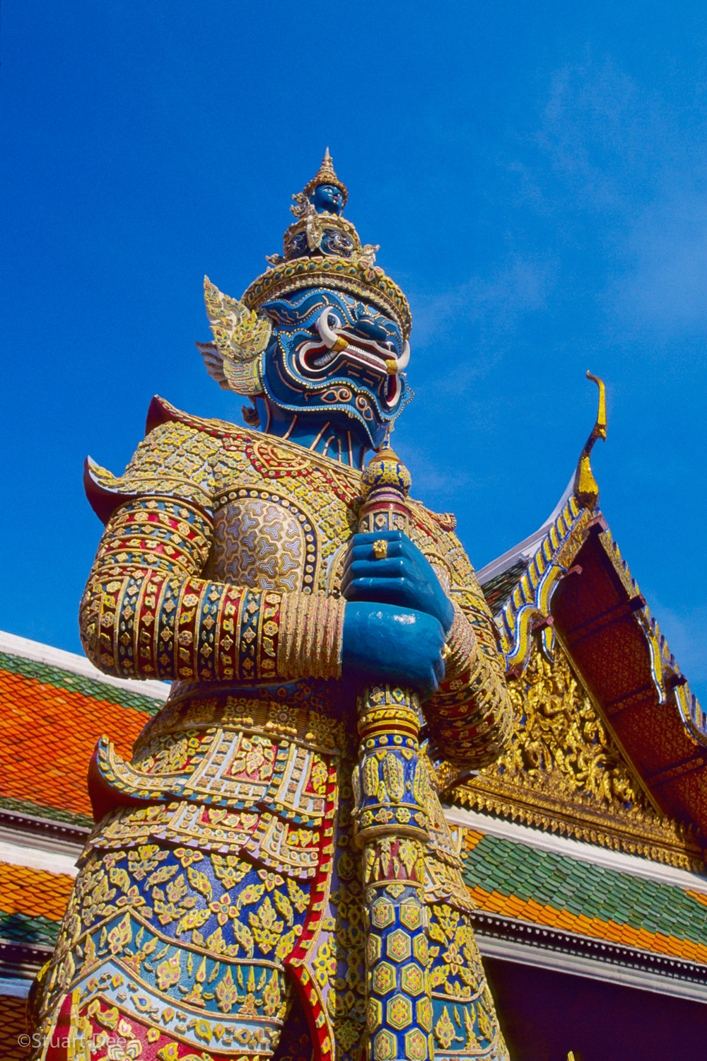 """Yak"" or giant guarding entrance gates, Wat Phra Kaeo/Grand Palace, Bangkok, Thailand"