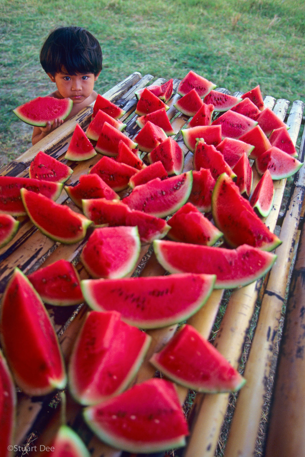 Young boy eating fruit sitting by a table full of sliced watermelon, Iloilo, Philippines  R