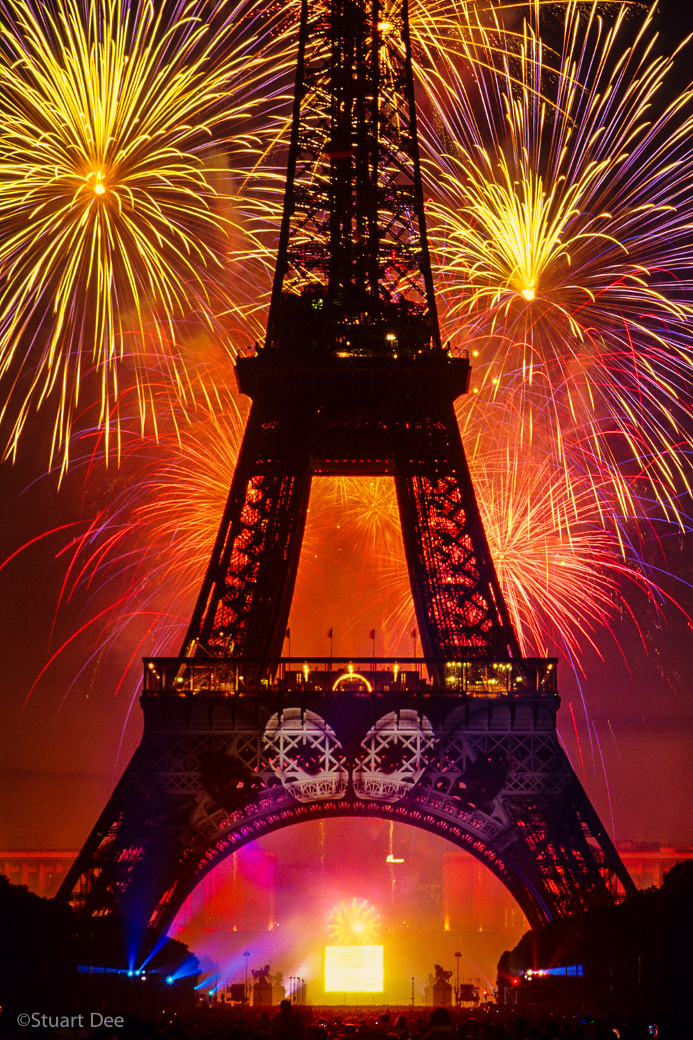 Eiffel Tower with Fireworks on Bastille Day, Paris, France