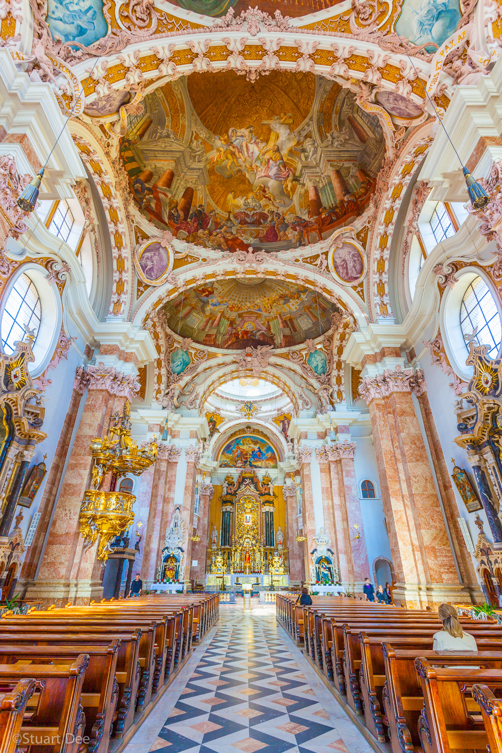 Interior, Innsbruck Cathedral, Innsbruck, Austria. Also known as the Domkirche, St. Jakob Cathedral, and Cathedral of St. James, it is one of the most important in the city. It is built in the 18th century Baroque style.
