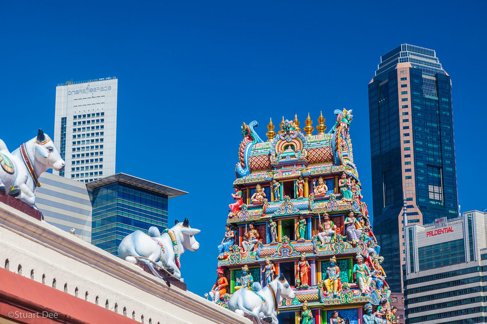 Sri Mariamman Temple, Chinatown, Singapore. This is the oldest Hindu temple in Singapore. Contrast of the traditional and modern architecture.