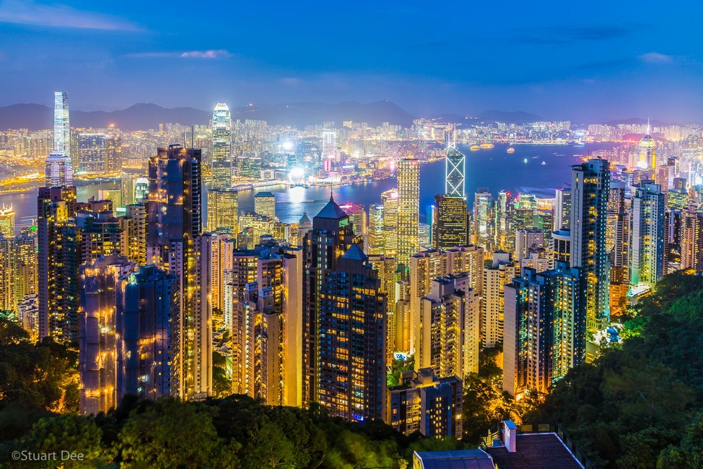 View from Victoria Peak, Victoria Harbor, Kowloon, skyline, Hong Kong, China