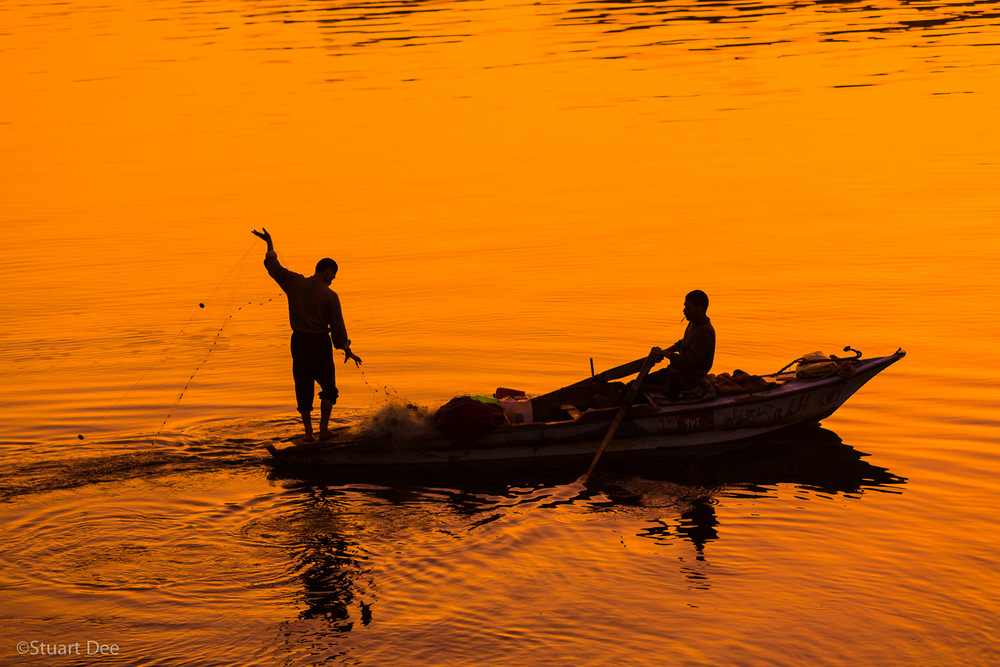 Fishermen on the Nile at sunset, Cairo, Egypt